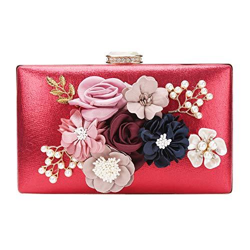 chuangminghangqi Damen Clutch Abendtasche Hochzeit - Handtasche mit Blumen Hochzeit Braut Geldbörse 20 * 12 * 3 cm (20 * 12 * 3 cm, Rot) - Perlen-geldbörse Handtasche Tasche