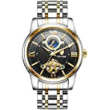 MagiDeal TEVISE Luxury Automatic Mechanical Watch Stainless Steel Black Dial Luminous Roman Numeral Wrist Watches