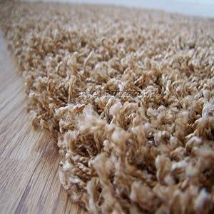 Yazz Plain Golden Beige Shaggy Pile Rugs 80x150cm Cheap Prices