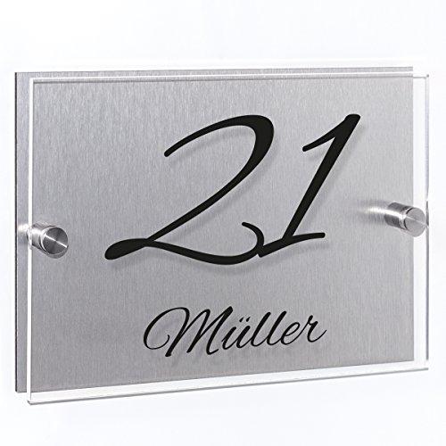 Wandkings Hausnummernschild - verschiedene Designs und Schriftarten wählbar / Schrift: Alex Brush - Name und Hausnummer
