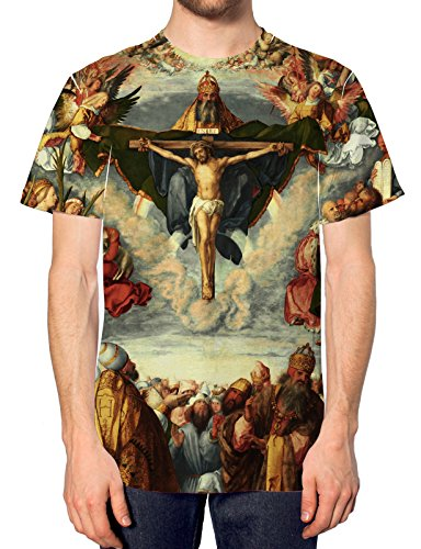 Adoration All Over Druck Christ T Shirt Jesus Kreuz Holy Grail Swag Herren Religion Gr. XX-Large, Weiß (T-shirt Christ Jesus)