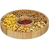 Relaxdays Assiette présentation service apéritif 4 compartiments bol tapas diamètre 30 cm bambou, nature
