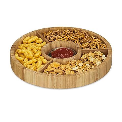 Relaxdays Snackteller aus Bambus, rund, Snackschale unterteilt, Durchmesser 30 cm, 4 Schalen, natur (Runde Gemüse Servierplatte)