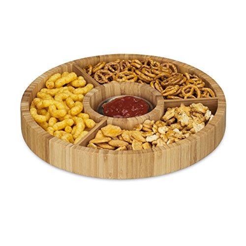 Relaxdays–Bandeja de bambú para Aperitivos, Redonda, Dividida en 4 Compartimentos, 30cm de...