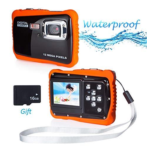 Wasserdichte Kamera für Kinder, 12MP 720P Kinderkamera Wasserdicht bis 3 Meter Digitalkamera mit 4x Digitaler Zoom/ 5 MP CMOS Sensor mit 16GB Speicherkarte