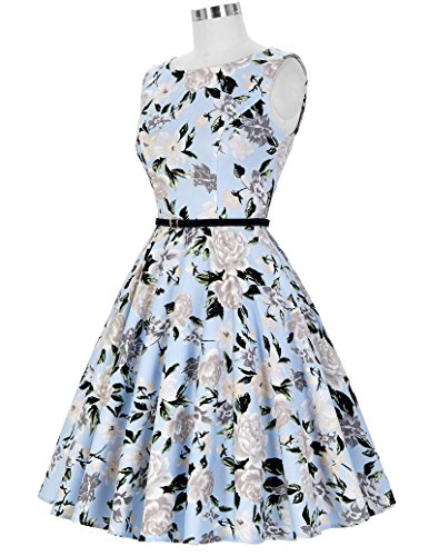 1950er rockabilly kleid ärmellos sommerkleid a linie festliches kleid abschlussballkleid Größe S CL6086-41 - 4