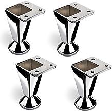 Juego de 4 x SET SO-TECH® Pata de Mueble Pata de Cama Cromado / Alto: 80 mm Ajustable