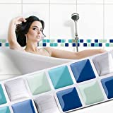 Wandora 7 Stück 25,3 x 3,7 cm Selbstklebende 3D Mosaik Fliesenaufkleber Küche Bad große Auswahl W1442 blau türkis Silber Design 10