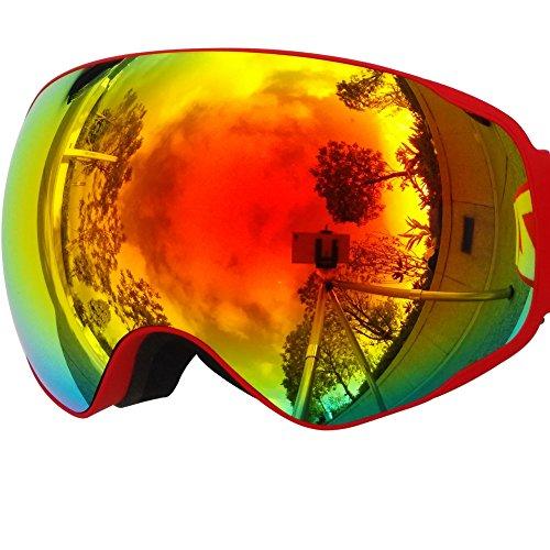 ZIONOR Lagopus X2 Snowmobile Snowboard Skate Skibrille mit abnehmbarer Linse und Weitwinkel Antibeschlag Big Spherical Skibrille