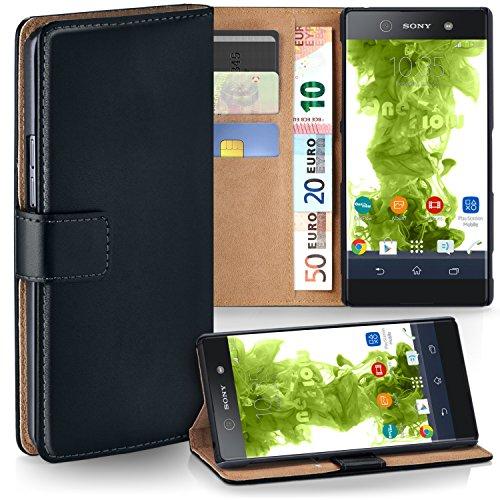 Sony Xperia XA1 Hülle Schwarz mit Karten-Fach [OneFlow 360° Book Klapp-Hülle] Handytasche Kunst-Leder Handyhülle für Sony Xperia XA1 Case Flip Cover Schutzhülle Tasche