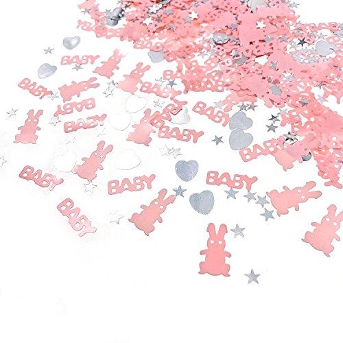 JZK 4 Packungen rosa Streudeko Konfetti Tischdeko Confetti Mitgebsel Geschenk für Mädchen Geburtstag Taufe Babyparty Kinder Party, Baby + Kaninchen + Herz + Stern -