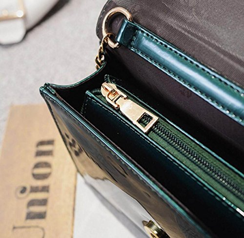 FZHLY Nuova Catena Piccola Piazza Del Fashion Bag Borsa A Tracolla,Black Green