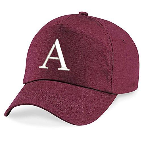 Casquette 4sold Unisexe Broderie Coton Baseball Cap Garçons Filles Hip Hop Flat Hat Bonnet A-Z Alphabet Burgundy A