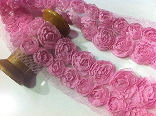 HomeBuy - Tessuto da sposa in pizzo con fiori, tulle,