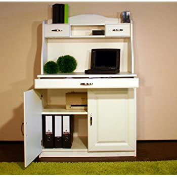 4132-1 Sekretär oder PC-Schrank im Landhaus-Stil, in weiß: Amazon.de ...