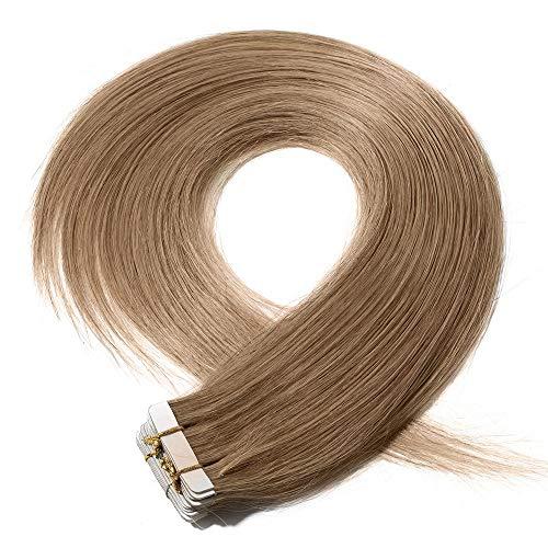 Extension capelli veri biadesivo 20 fasce adesive bionde 40cm tape in hair extensions biadesive 50g/set 100% remy human hair allungamento, 27 biondo scuro