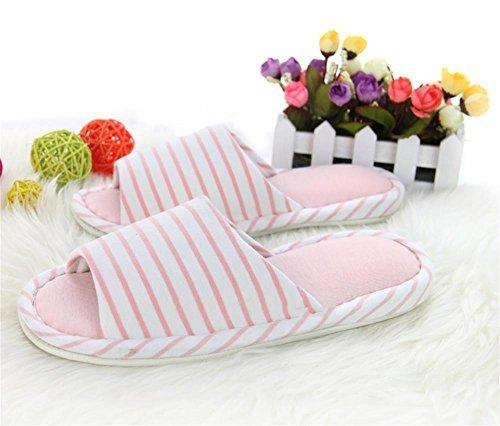 ALUK- Bottom Doux Indoor Accueil Anti - Skid Tissu D'hiver Pantoufles En Coton ( couleur : Rose , taille : One Size Fits 37-39 ) Rose