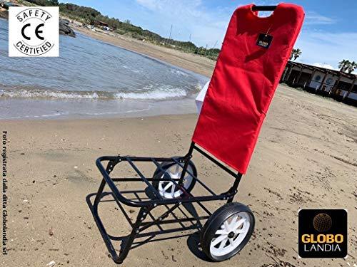 Globolandia srl - carrello mare con ruote color rosso - trolley beach carrellino porta ombrellone e oggetti per la spiaggia e giardino