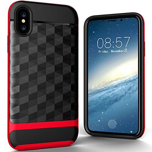 Cover iphone x design speciale unico custodia iphone x iphone x cover iphone x case iphone x hülle iphone x custodia cover iphone 10 custodia iphone 10 anti-impatto anti-colpo anti-graffi (Rosso-Nero)