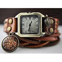 Echte Blüten Echtleder Armbanduhr - Peach