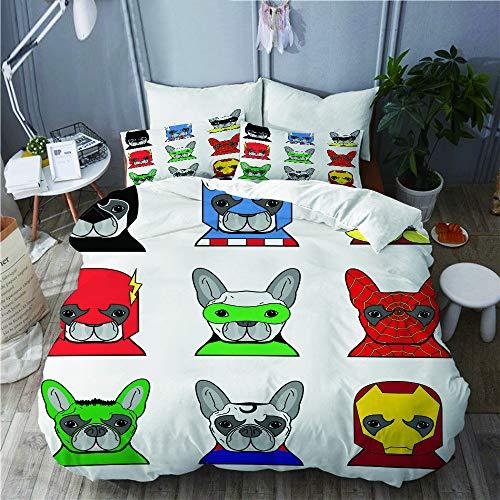 Girl Kostüm Cute Superhelden - PENGTU Bettwäsche-Set, Mikrofaser,Superheld-Bulldoggen-Superheld-Spaß-Cartoon-Welpen in den Verkleidungs-Kostüm-Hunden mit Masken,1 Bettbezug 200 x 200cm+ 2 Kopfkissenbezug 80x80cm