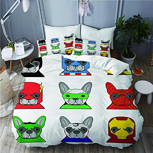 PENGTU Bettwäsche-Set, Mikrofaser,Superheld-Bulldoggen-Superheld-Spaß-Cartoon-Welpen in den Verkleidungs-Kostüm-Hunden mit Masken,1 Bettbezug 200 x 200cm+ 2 Kopfkissenbezug 80x80cm (Spa-ton-maske)