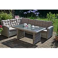 Manhattan - Set lounge ad angolo (divano angolare + tavolo) in polyrattan, colore sabbia e grigio naturale, per 6 persone