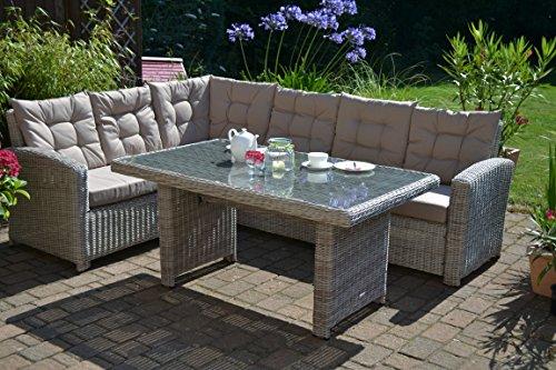 Ecklounge Manhattan (Ecksofa + Tisch) großes Rattan Gartensofa Lounge Polyrattan sand grau natur für 6 Personen