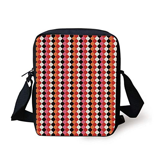 Retro,Curved Elliptic Shaped Abstract Forms in Vertical Direction Vivid Colors Illustration,Multicolor Print Kids Crossbody Messenger Bag Purse