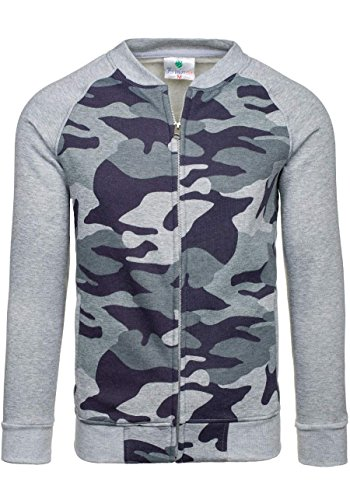 BOLF Herren Pullover Sweatshirts Pulli ohne Kapuze MIX Grau_2538A