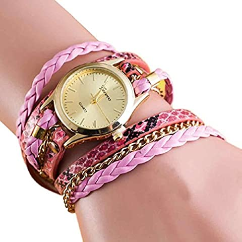 Vovotrade ✿✿ Attractive!!! New Fashion Wrap Around Synthetic Leather Chain Watch Bracelet Watch (Pink)