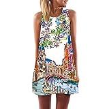 VEMOW Frauen Damen Sommer ärmellose Blume Gedruckt Tank Top Casual Schulter T-Shirt Tops Blusen Beiläufige Bluse(Y3Weiß 2, EU-42/CN-M)