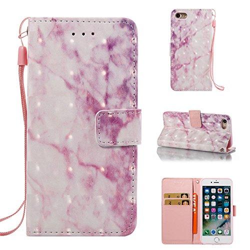 Ooboom® iPhone 6S/6 Coque Motif Marbre PU Cuir Magnétique Flip Housse Étui Cover Case Format Livre Portefeuille Supporter pour iPhone 6S/6 - Beige Rose Clair