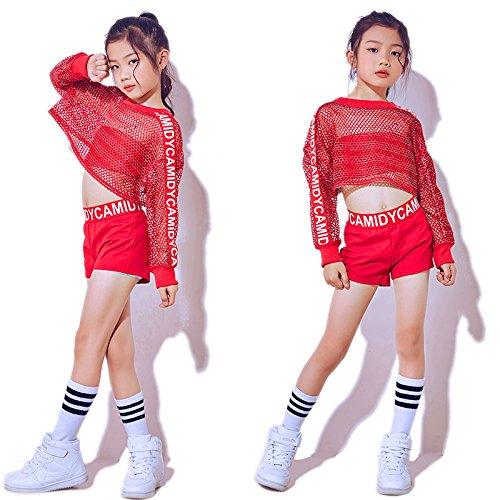 Moyuqi Kinder-Kostüm für Mädchen rot, Hip-Hop, Kostüm, Rosa, rot, 150 - Hip Hop Kostüm Kinder