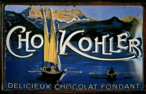 Affiche-mtallique-avec-kohler-cho-chocolat-fondant-chocolat-style-bavarois-bateaux-plaque-metal