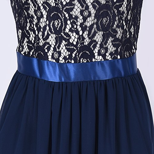 [Chiffon Abendkleid] iShine Spitzen Festkleider Brautjungfer Cocktailkleid Elegant Lang Geblümt Bleu