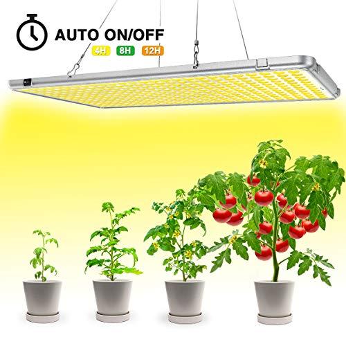 Bozily klappbare 300W LED Pflanzenlampe, Sonnenähnliche Vollspektrums Pflanzenlampe, 338 LEDs Übergröße, Automatische Timingfunktion für Indoor-Pflanzen, Aussaat, Wachstum, Blüte und Ernte.