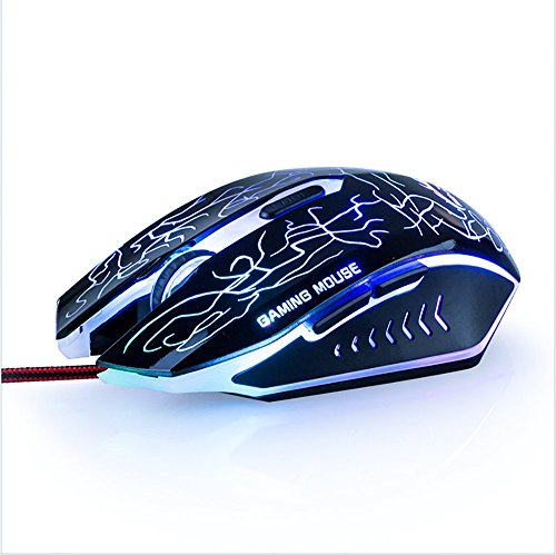 Gaming Mouse DPI Hohe PräZision USB Wired Mouse, 6 Tasten, mit Modi von LED Colorful Breathing Light, Gewicht Tuning Set FüR Pc Laptop Desktop Notebook