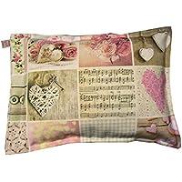 Kräuterkissen Schlaf Gut Motiv Herzen rosa beige 100% Baumwolle (ohne Zusatz von Duftstoffen) mit Schutzengel Schlüsselanhänger