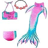 UrbanDesign Traje De Baño Disfraz Cola De Sirena Niña con Bikini para Nadar, 11-12 años, Camelia