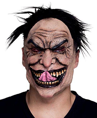 Boland 97542 maschera horror pazzo maniaco in lattice con capelli, rosa, taglia unica