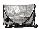 wewo 2017 Damen umhängetasche klein schultertasche mädchen henkeltasche Einfarbig handtasche leder Abendtasche shopper kettentasche (Silber)