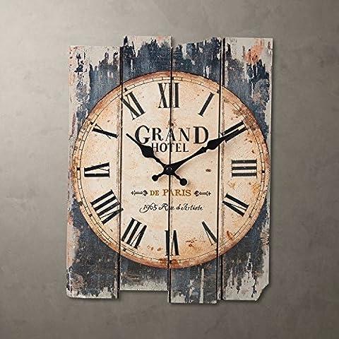 Damjic Petit Style Rétro En Bois Méditerranéens Créatifs Horloge Horloge Murale Horloge Numérique Lettres A