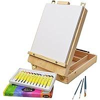 ARTINA® Set pittura in valigetta Florenz, 17 unità - cassetta cavalletto da tavolo, tela, acrilici 12x12ml e 3 pennelli