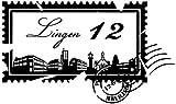 Wandtattoo Skyline Lingen Stadt Stamps Briefmarke Marke Wand Aufkleber Türaufkleber Möbelaufkleber Autoaufkleber Wohnzimmer 5M214, Farbe:Königsblau Matt, Breite vom Motiv:55cm