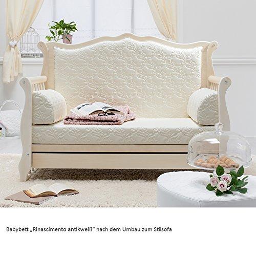Besonderes Babybett 63×123 | Umbaubett mit gepolsterter Rücklehne Rinascimento antikweiß – erweiterbar zur Couch - 3