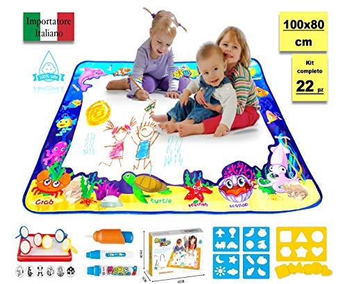 giugrax Aqua Doodle Tappeto Magico Bambini 100x80 Giochi Bambina 3 4 5 Anni Bambino Idea Regalo Compleanno Lavagna Cancellabile Educativi Set Pennarelli Lavabili Punta Grossa Libretto Disegno Colora
