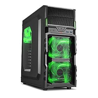 Sharkoon VG5-W PC-Gehäuse (Schnellverschlüsse, 3x 120-mm-LED-Lüfter vorinstalliert, USB 3.0) grün