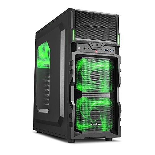 Sharkoon VG5-W PC-Gehäuse (Schnellverschlüsse, 3x 120-mm-LED-Lüfter vorinstalliert, USB 3.0) grün -