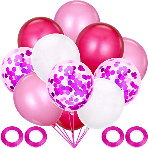Latex Ballons Party Dekorative Ballons mit 4 Rollen Bänder für Baby Dusche Party Hochzeit Geburtstag Dekoration (Rose Rot, Rosa, Weiß) ()
